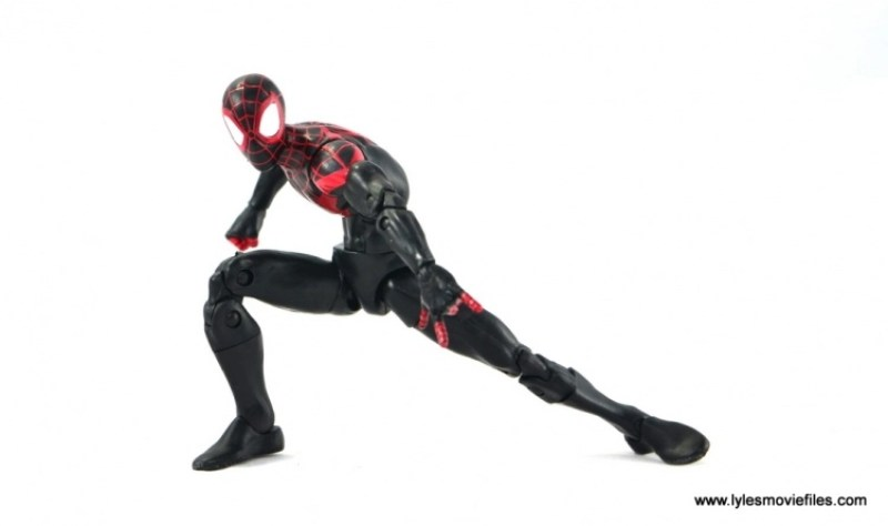 Marvel Legends Miles Morales figure review - crouching