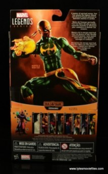 Marvel Legends Iron Fist figure review - package rear