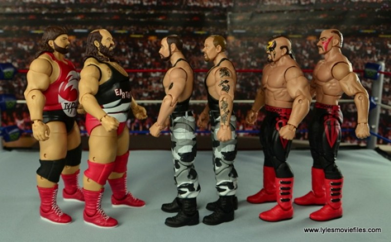 WWE Elite Natural Disasters figure reviews -scale with the Bushwackers and the Legion of Doom