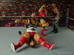 WWE Elite Natural Disasters figure reviews -squashing Bushwackers
