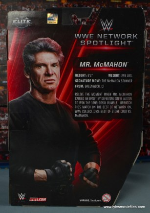 WWE Network Spotlight Vince McMahon figure review -package rear