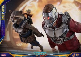 Hot Toys Guardians of the Galaxy Vol. 2 Star-Lord figure -flying with Rocket and Baby Groot