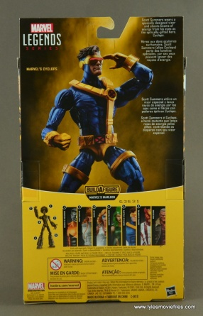 Marvel Legends Cyclops figure review -package rear