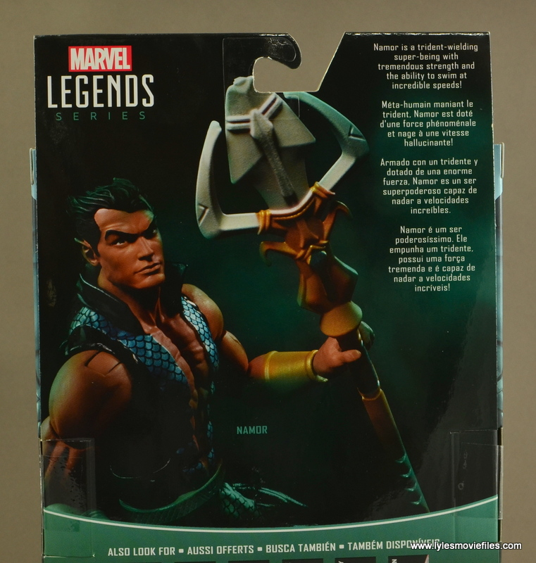 Marvel Legends Namor figure review -package bio