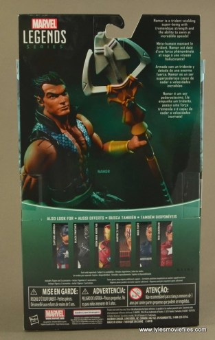 Marvel Legends Namor figure review -package rear