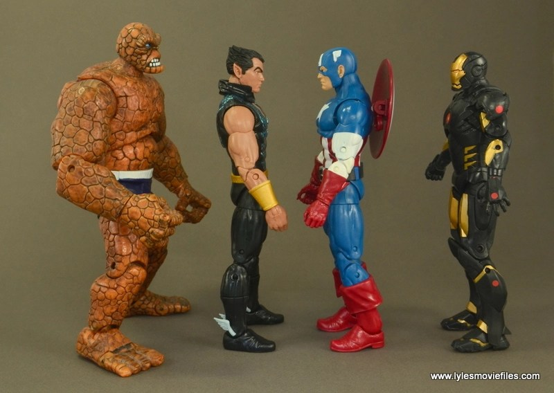 Marvel Legends Namor figure review -scale with The Thing, Captain America and Iron Man