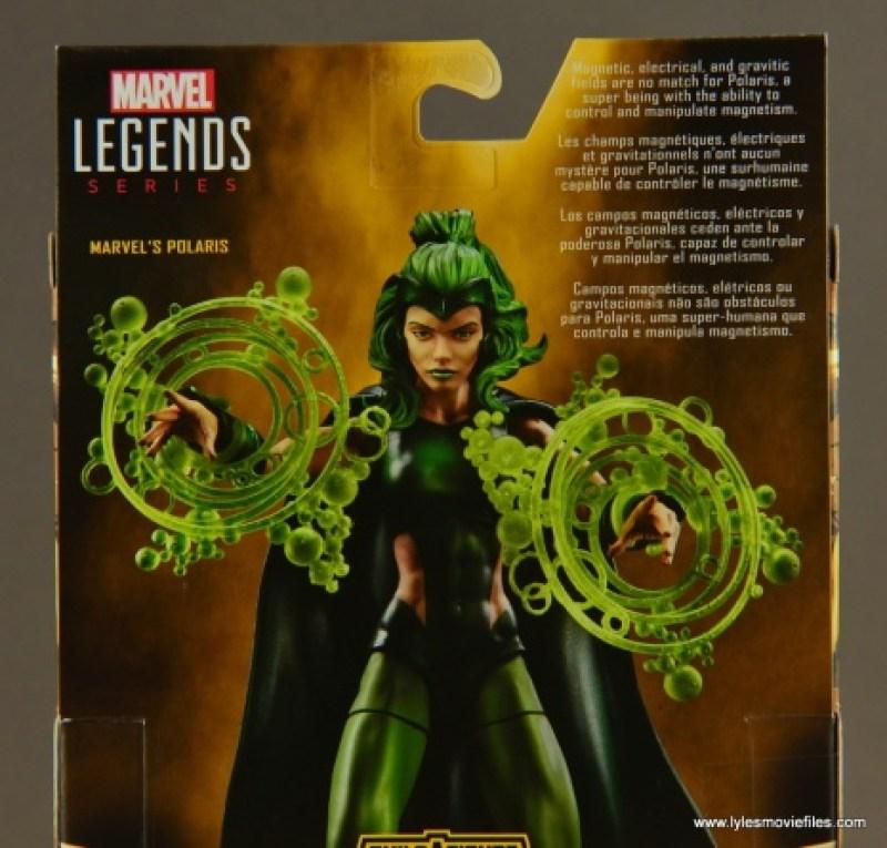 Marvel Legends Polaris figure review - package bio