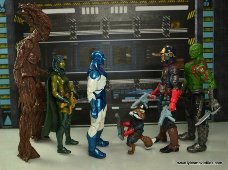Marvel Legends Vance Astro figure review - scale with Groot, Gamora, Rocket, Star Lord and Drax