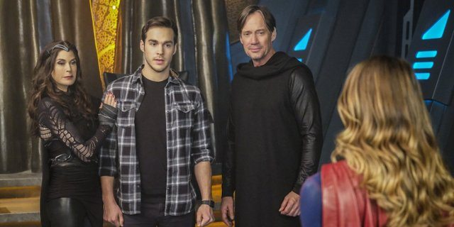 Supergirl Star-Crossed Rhea, Mon-El, Lar Gand and Supergirl