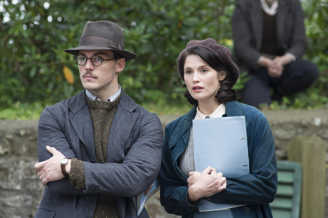 Their Finest movie -Sam Clafin and Gemma Arterton sitting