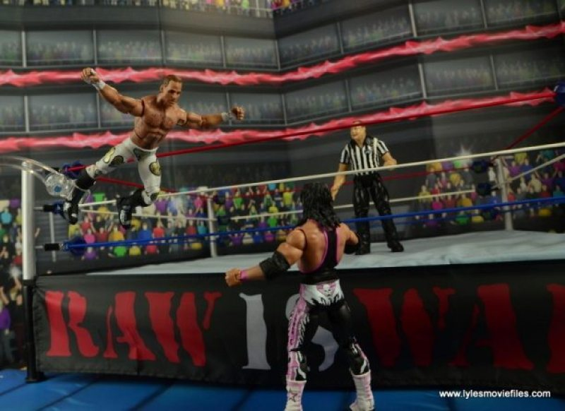 WWE Wrestlemania 12 Elite Shawn Michaels figure review -diving from top rope to the outside