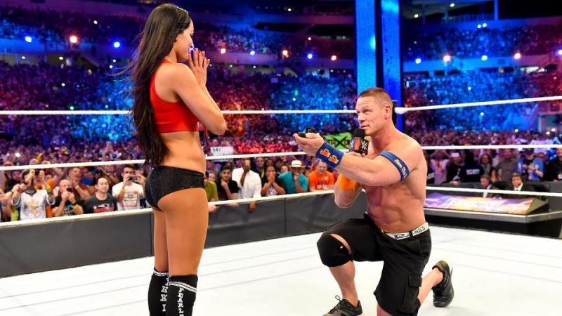 Wrestlemania 33 - John Cena proposes to Nikki Bella