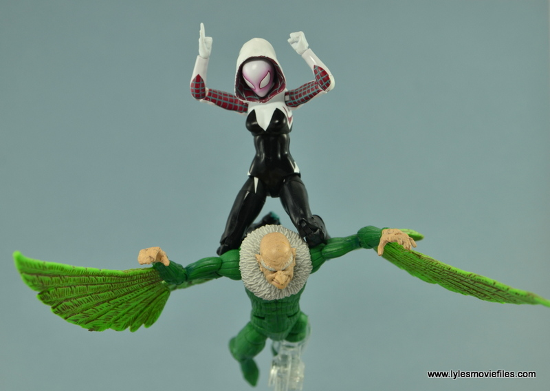 Marvel Legends Spider-Gwen figure review - hitching a ride on Vulture