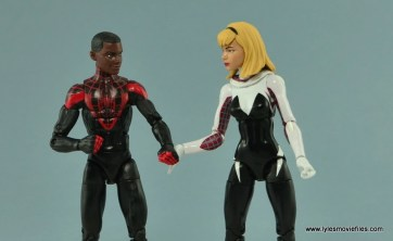 Marvel Legends Spider-Gwen figure review - holding hands with Miles Morales