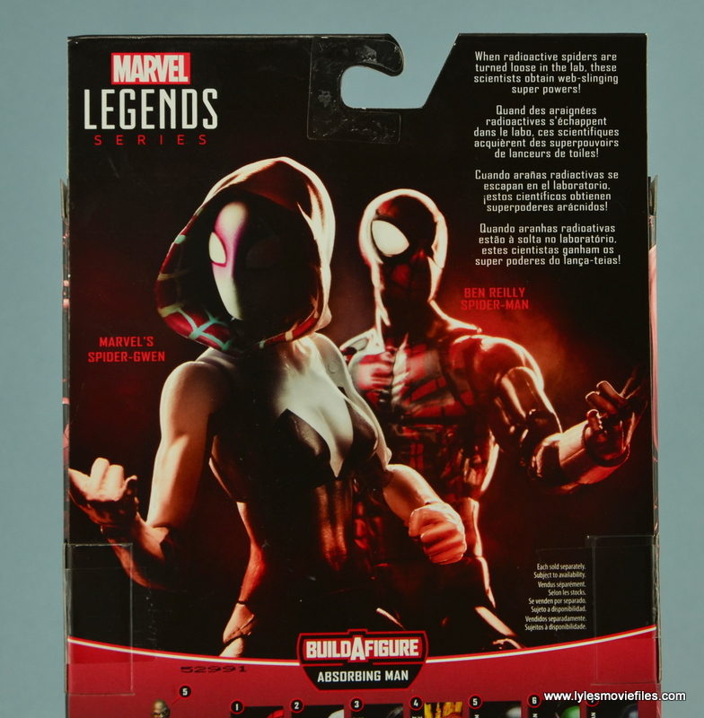 Marvel Legends Spider-Gwen figure review - package bio
