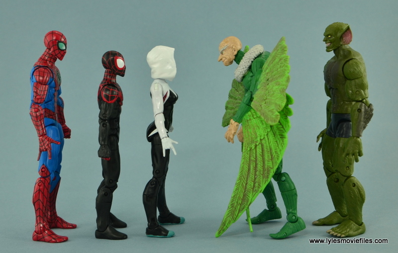 Marvel Legends Spider-Gwen figure review - scale with Spider-Man, Miles Morales, Vulture and Jackal