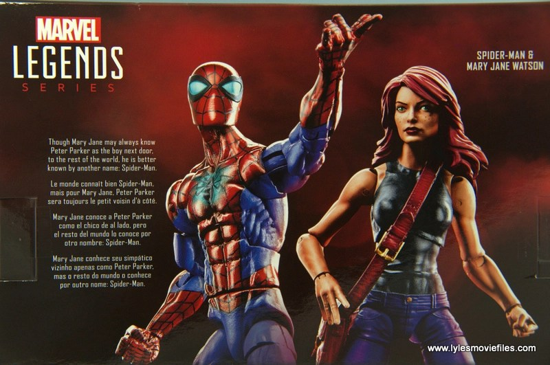 Marvel Legends Spider-Man and Mary Jane Watson figure review - package bio