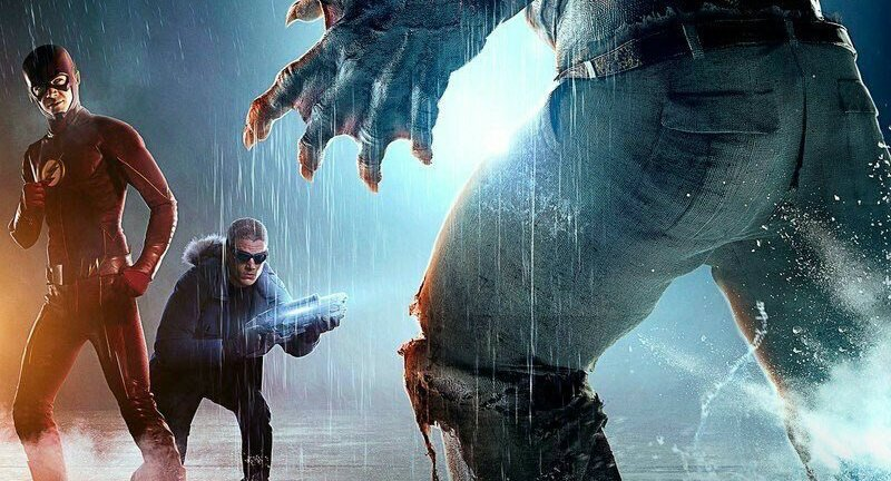 The-Flash-Infantino-Street-Poster - Flash and Captain Cold vs Killer Shark