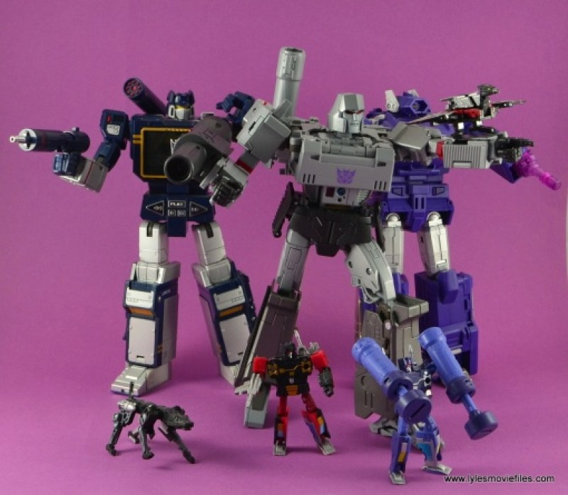 Transformers Masterpiece Megatron figure review -with Soundwave, Ravage, Frenzy, Rumble, Laserbeak and Shockwave
