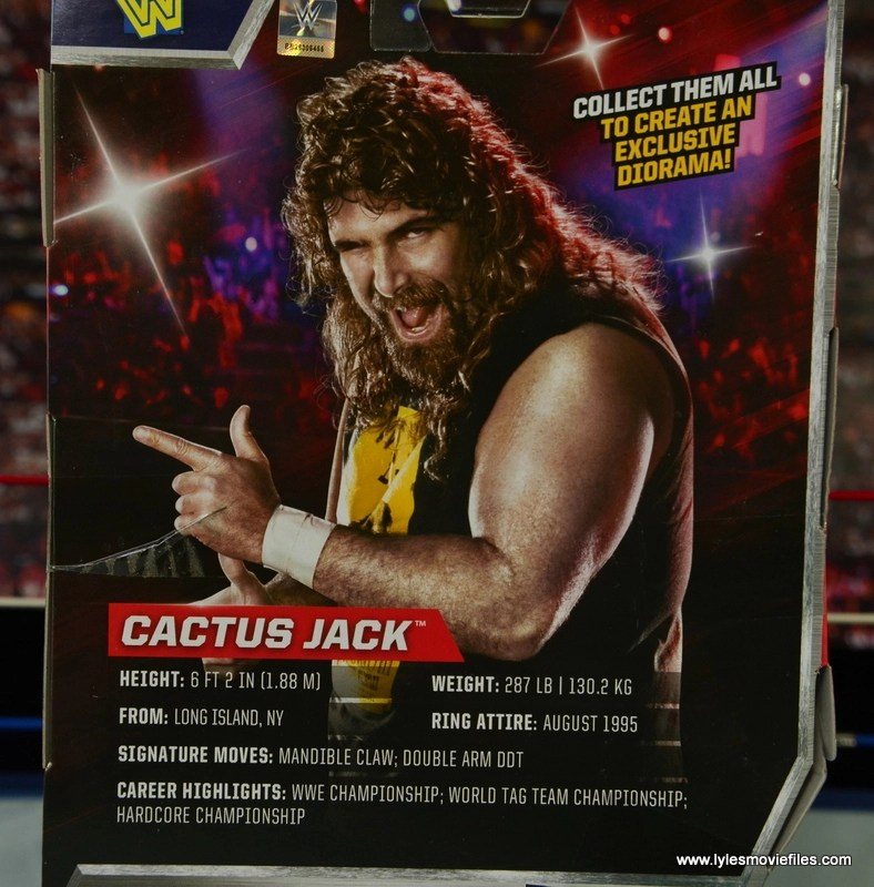 WWE Elite 48 Cactus Jack figure review -bio card