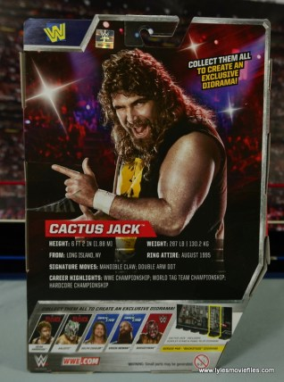 WWE Elite 48 Cactus Jack figure review -packaging rear