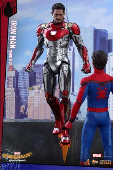 Hot Toys Iron Man Mark 47 figure - hovering unmasked