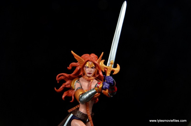 Marvel Legends Angela figure review -holding sword up