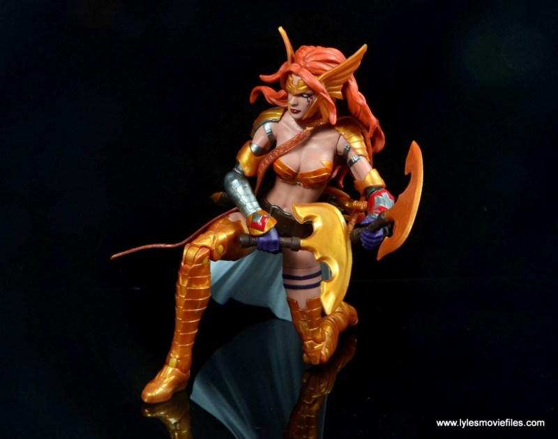 Marvel Legends Angela figure review -on knee