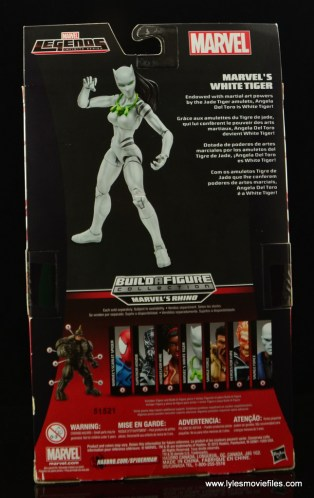 Marvel Legends White Tiger figure review -package rear