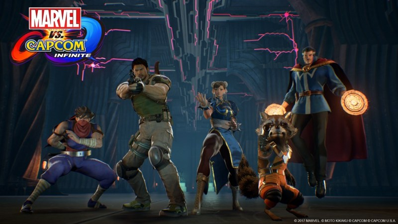 Marvel vs Capcom Infinite Strider, Chris Redfield, Chun-Li, Rocket Raccoon and Doctor Strange