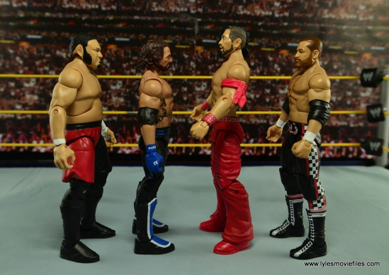 WWE Defining Moments Shinsuke Nakamura figure review -scale with Samoa Joe, AJ Styles and Sami Zayn