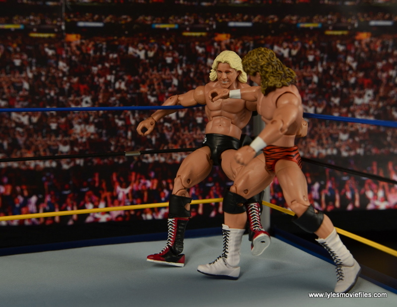WWE Elite Flyin Brian figure review -chopping Ric Flair in the corner