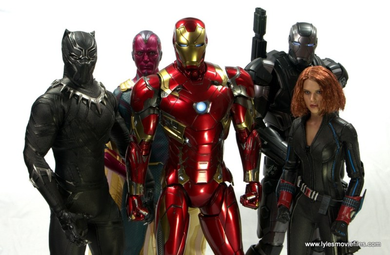 Hot Toys Captain America Civil War Iron Man figure review - with Black Panther, Vision, War Machine and Black Widow