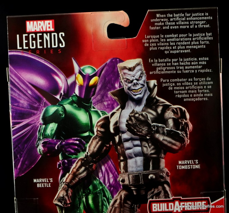 Marvel Legends Beetle figure review -package bio