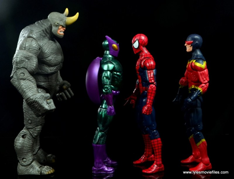 Marvel Legends Beetle figure review - scale with Rhino, Spider-Man and Speed Demon