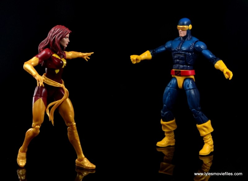 Marvel Legends Cyclops and Dark Phoenix figure review - Dark Phoenix holding back Cyclops