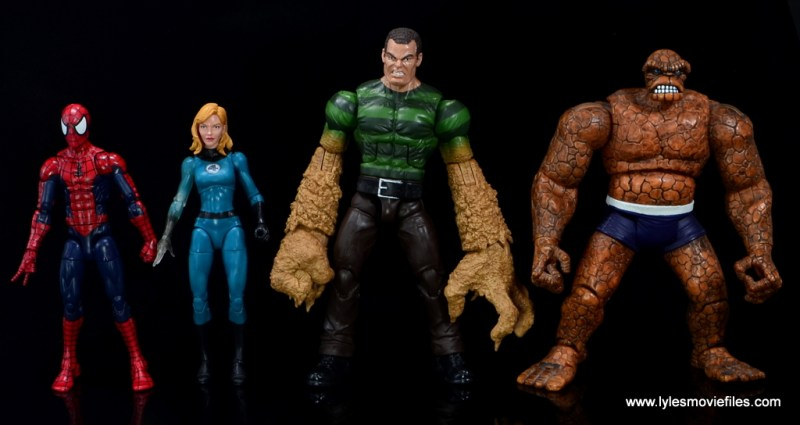 Marvel Legends Sandman figure review -scale with Spider-Man, Invisible Woman and Thing