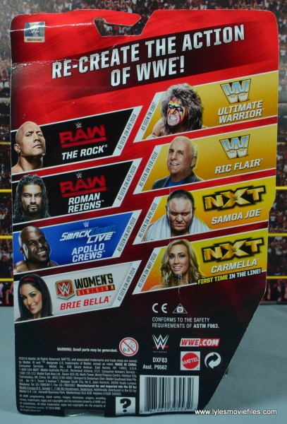 WWE Carmella figure review - package rear