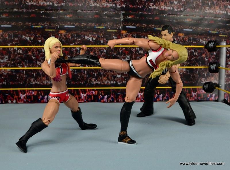 WWE Carmella figure review - side kick to Alexa Bliss