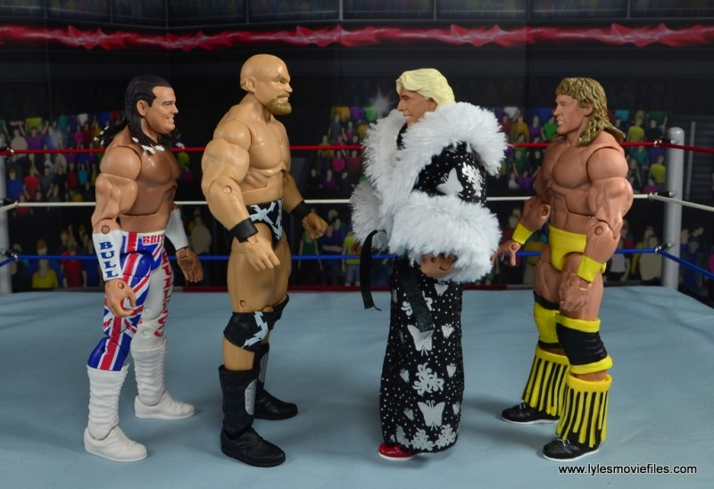 WWE The Warlord figure review - scale with British Bulldog, Ric Flair and Texas Tornado