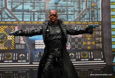 Marvel Legends Avengers Initative figure review -Nick Fury with arms and guns out