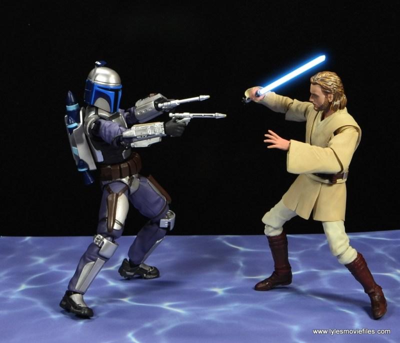 SH Figuarts Jango Fett figure review -face off with Obi Wan Kenobi lightsaber