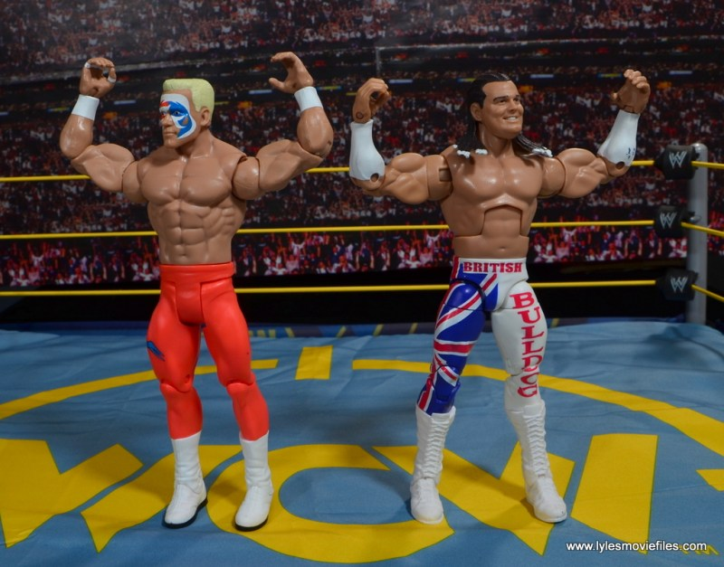 WWE Basic Surfer Sting figure review -posing with British Bulldog