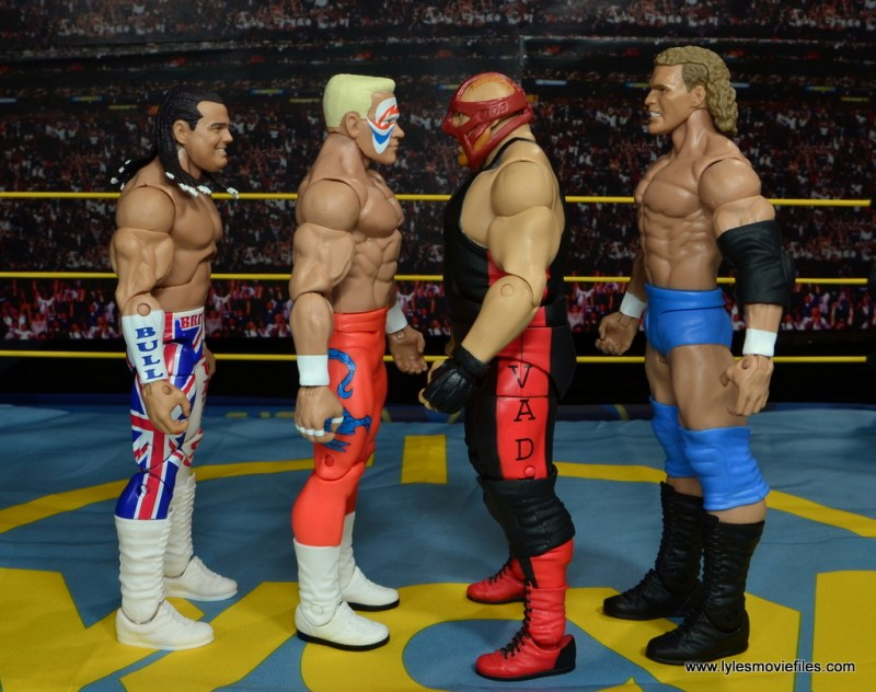 WWE Basic Surfer Sting figure review - scale with British Bulldog, Vader and Sid Vicious