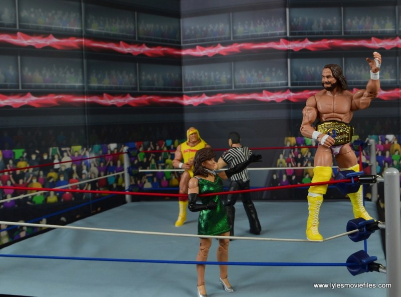 WWE Defining Moments Macho Man Randy Savage figure review -standing on turnbuckle before fighting Hogan
