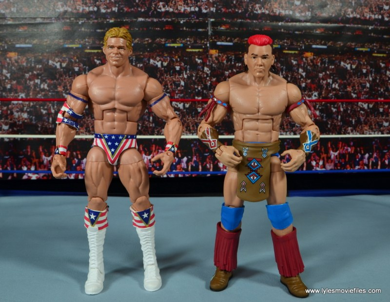 WWE Elite Tatanka figure review - scale with Lex Luger