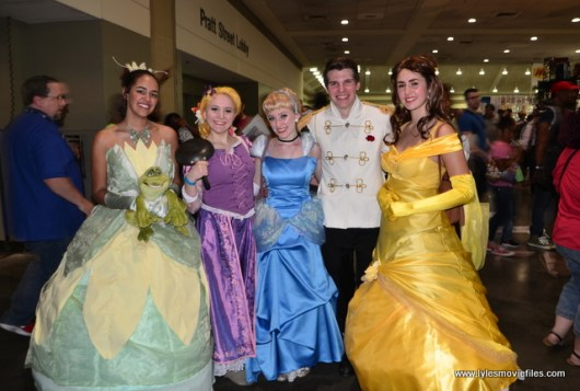Baltimore Comic Con 2017 cosplay -Tiana, Rapunzel, Cinderella, Prince Charming and Belle