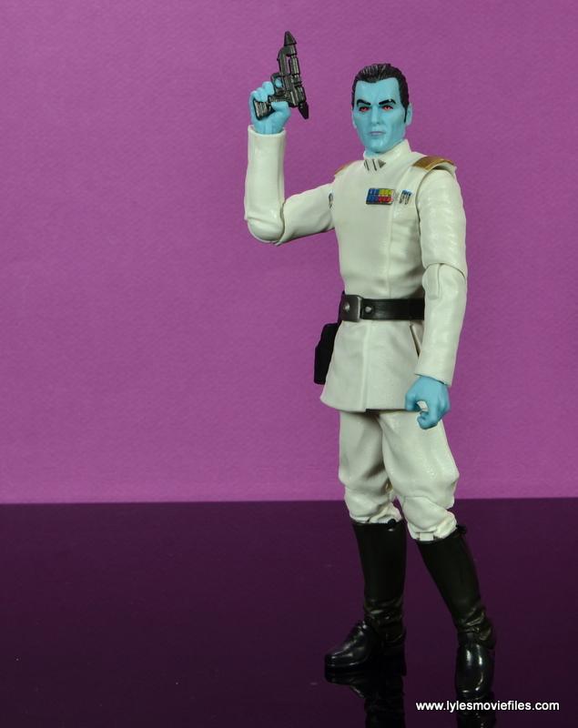 Star Wars The Black Series Grand Admiral Thrawn figure review -raising blaster