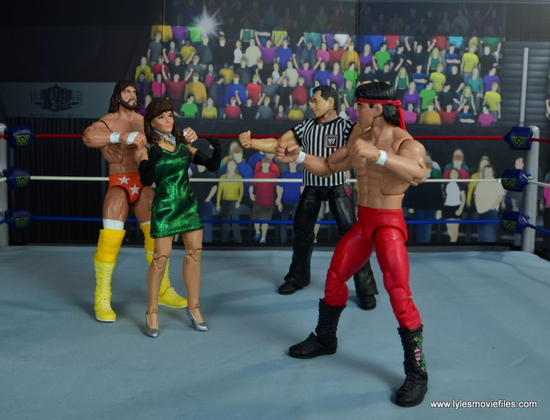 WWE Then Now Forever Miss Elizabeth figure review -being blocked by Macho Man