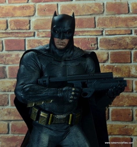 Hot Toys Batman v Superman Batman figure review -holding grenade launcher